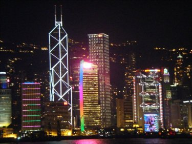 A view of the city skyline at night. This was when I truly began to fall hard for Hong Kong.
