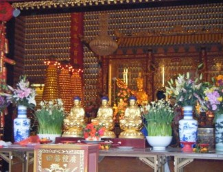 Tens of thousands of tiny Buddha statues lined the walls of this temple floor to ceiling.