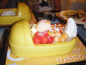Dessert sundae at Modern Toilet. It's in a urinal bowl.