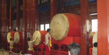 The impressive drum performance in Beijing's Drum and Bell Tower.
