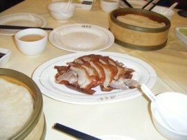 The beautiful presentation of the Peking duck at our table at Quanjude.