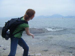 Look at that awesome rock skipping prowess. Perfect form.
