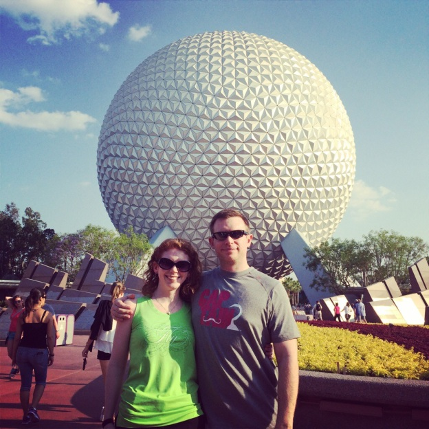 Sean and I doing the traditional couples pose in front of the giant ball thingy at Epcot.