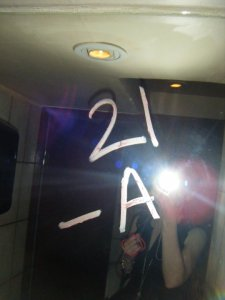 Abby left her mark on one of the bathroom mirrors during her wild birthday night.