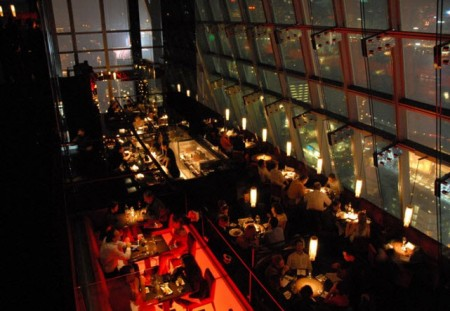Looking down from where we had dinner at Aqua. In the upper bar area, the views of Hong Kong were even more stunning.