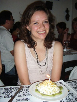 A very cute picture of the birthday girl.