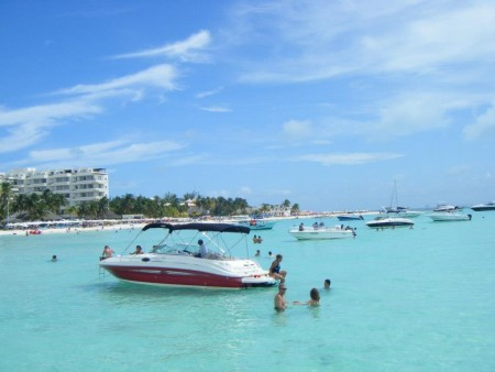 Isla Mujeres, where we stopped after our diving excursion for food and fun.