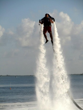 The water propelled jet pack. This was the pro showing off, not the guy who totally ate it.