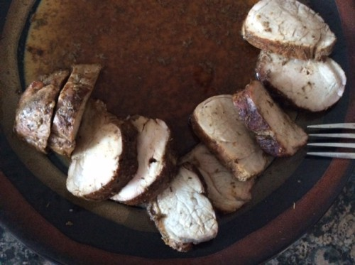 The tenderloin cut into medallions and drizzled with more au jus.