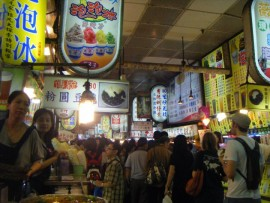 This is actually an inside shot of the food booths at Shilin. Talk about crowded!