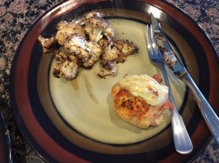 Chicken cordon bleu and cauliflower - it's what's for dinner!