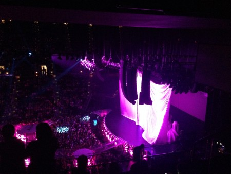 The stage of the concert prior to the show's start. Those curtains dropped to reveal an awesome stage behind.