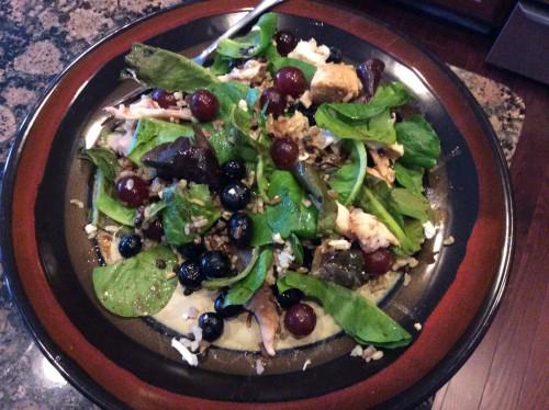 Chicken salad rice bowl top shot