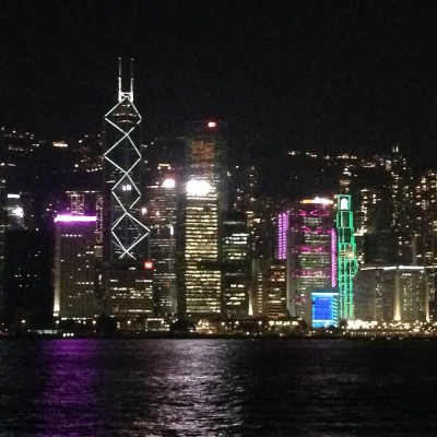 The Hong Kong skyline from Victoria Harbor at night. One of my favorite views in the world.
