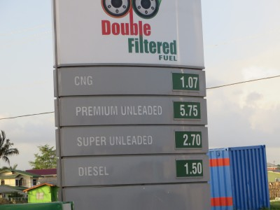 Lucky for Trinidad, gas is unbelievably cheap in Trinidad, as it comes right out of the ground there. These prices convert to about $1 USD per gallon.