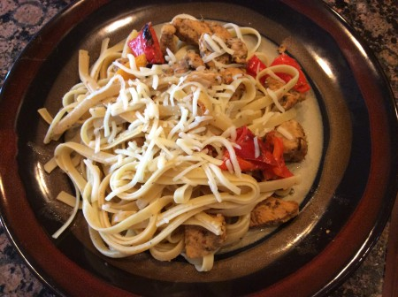 Now that's a good, healthy serving of chicken fettuccine.