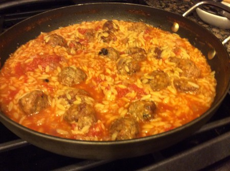 orzo pasta and meatball soup in pot