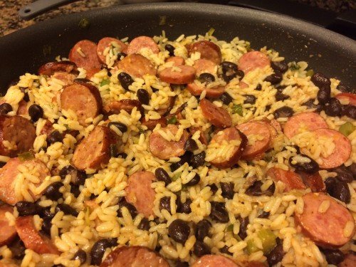 spicy sausage and rice skillet